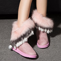 New Fashion Women Boots Winter Snow Boots Wool Exports Imitation Fox Fur Boots Big Shoes Tube High Fringed Boots Piwama