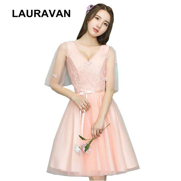 women lace up vintage peach modest tulle bridemaids   dress   short lace formal ball length special occasion   bridesmaid     dresses