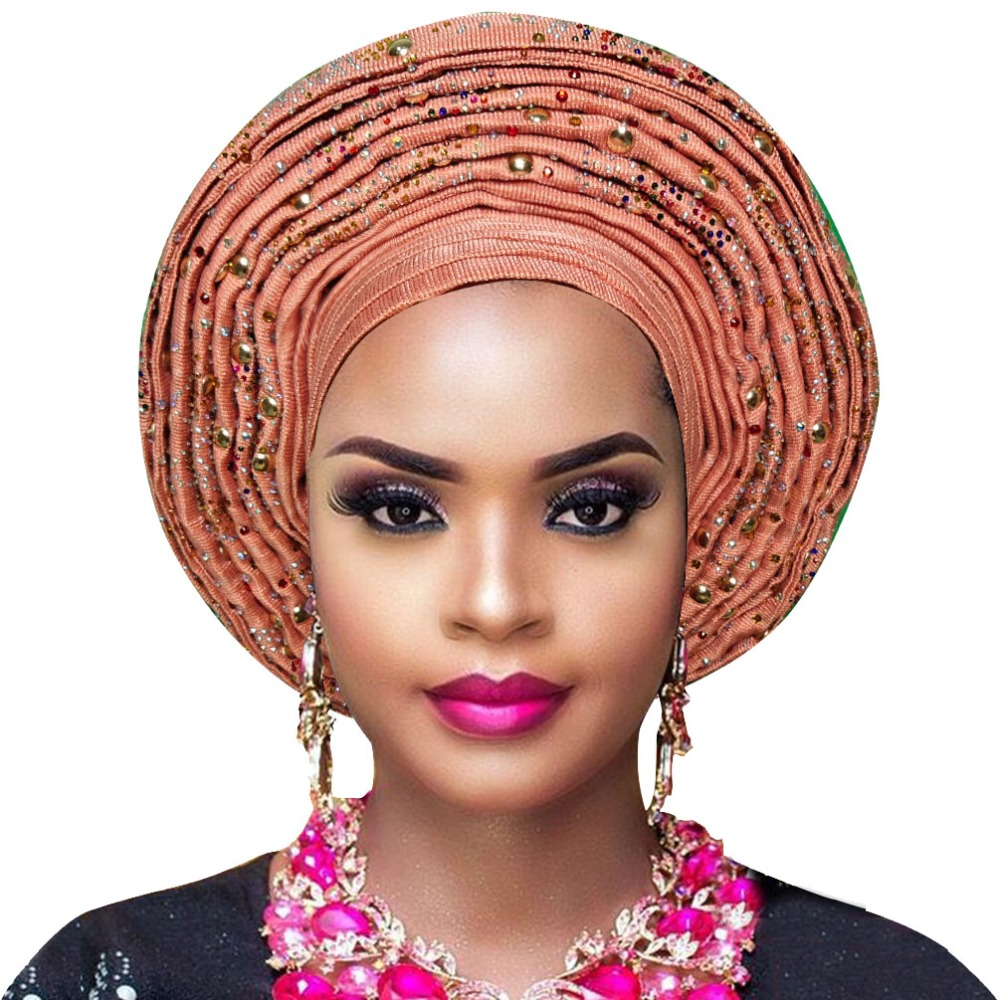 New Arrival aso oke Auto Gele with with beads African Ladies headwrap For Bridal And Party