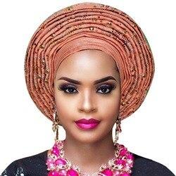 Nigeriano aso oke headtie africano impacchi di testa gele headtie già fatto