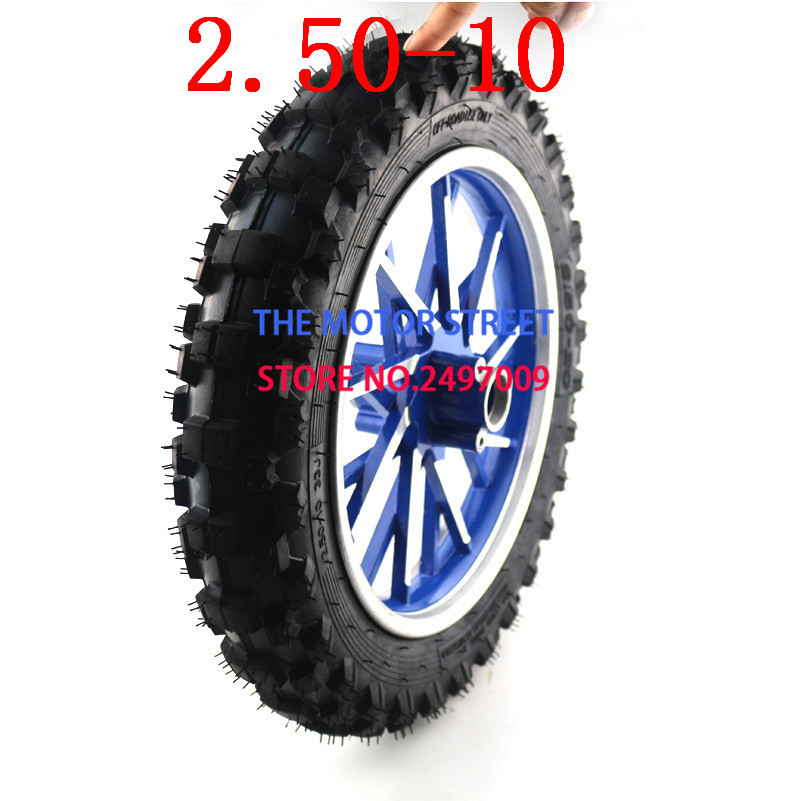 Scooter Wheels 2.50-10 Front Wheel with Off-road Tyre+Wheel Rim+Bearing for Foldable Electric Scooter image
