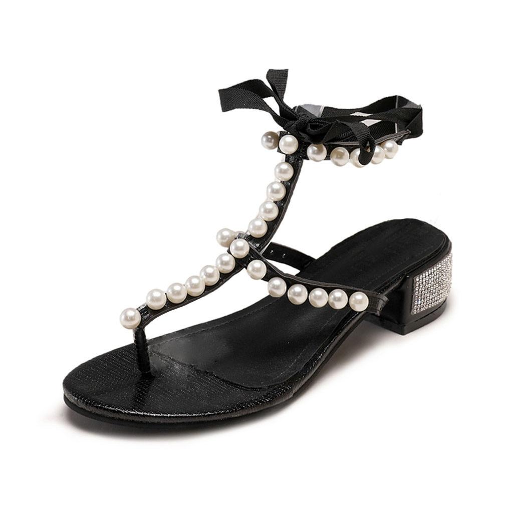 SAGACE Fashion Ladies Sandals Shoes Flat with Womens Sandals Pearl Rhinestone Clip Toe Sandals Lace-Up High Heels Beach ShoeSAGACE Fashion Ladies Sandals Shoes Flat with Womens Sandals Pearl Rhinestone Clip Toe Sandals Lace-Up High Heels Beach Shoe