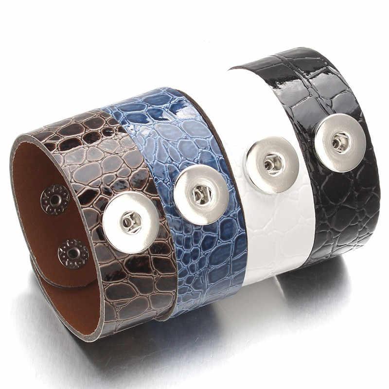 ファッションレザースナップジュエリーレトロパンクワイドスナップボタン Braeclet 腕輪フィット 18 ミリメートル DIY スナップ女性男性