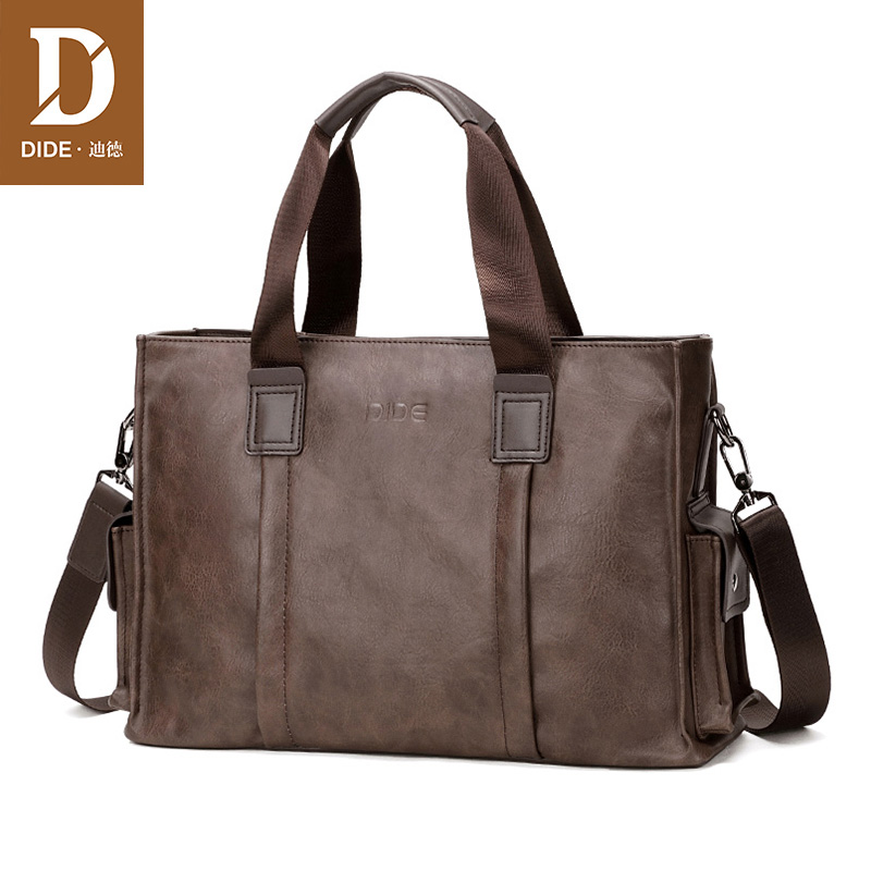 DIDE Famous Brand Design Handbag Leather Men's Briefcase Satchel Bags For Men Business Fashion Messenger Bag 14' Laptop Bag