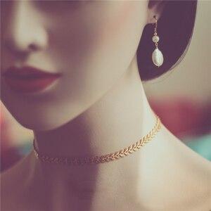 Image 2 - Złoty wypełniony Choker ręcznie robiony naszyjnik Vintage Charm prosty złoty łańcuszek Party prezent Collier Bijoux Femme biżuteria naszyjnik dla kobiet