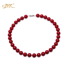 JYX 2019 charming necklace red 12mm Seashell Pearl Round Beads Necklace high quality 18 elegant jewelry for women