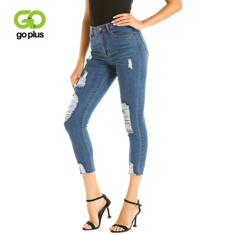 Goplus High Waist Jeans Woman New Fashion Blue Ripped Jeans Feminina Ankle-Length Sexy Skinny Jeans Pencil Pants Pantalon Femme