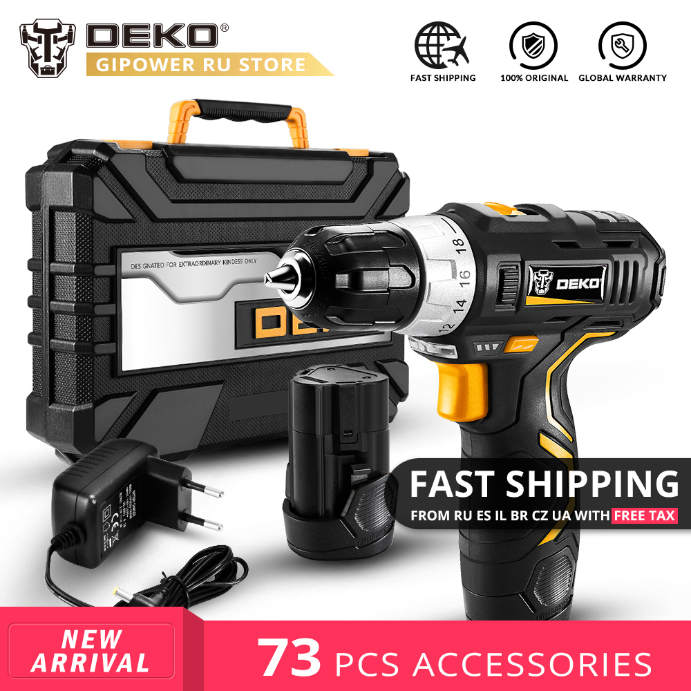 DEKO GCD12DU3 12V Max DC Household Cordless Drill Lithium Battery Mini Power Driver Electric Screwdriver Woodworking