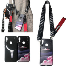 space Astronaut shoulder strap tpu case for huawei mate 20 pro lite X p20 p30 honor 8X 10 9 Y7 Y5 Y9 2019 she