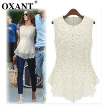OXANT 2019 Lace Blouse Peplum Tops Sheer Shirts Spring & Summer Clearance Women Casual Sleeveless shirt Blusas Plus Size D36(China)