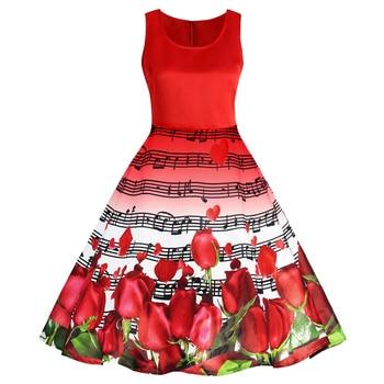ZAFUL Vintage Dress Women Musical Notes Roses Print Dress Retro Valentines Day Pin Up Party Dresses vestidos de festa robe femme vestidos de vintage azul