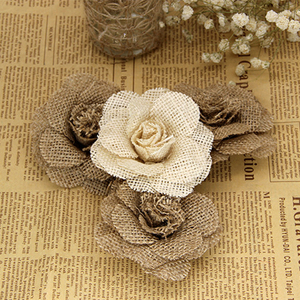 Image 3 - Xinaher 5 pçs 9cm artesanal juta hessian serapilheira flores rosa shabby chique decoração do casamento suprimentos de festa de natal