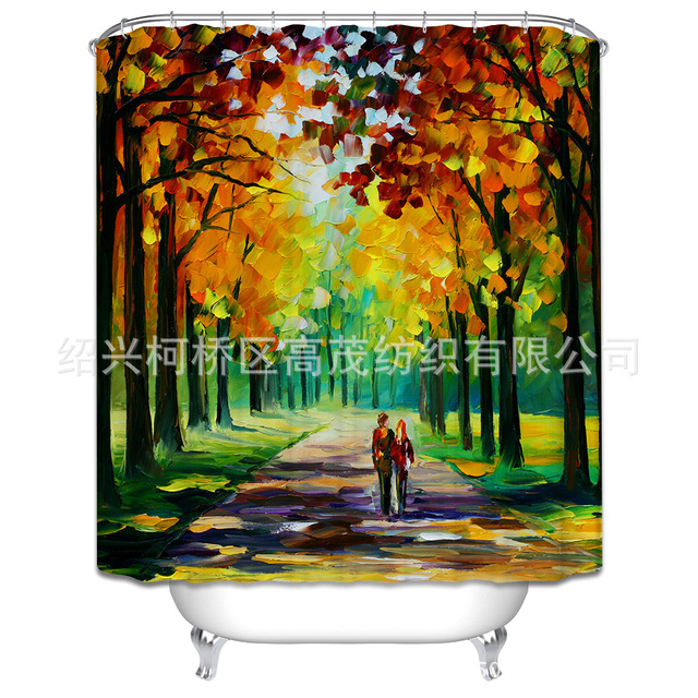 Romantic Lovers Autumn Scenery Oil Painting Shower Curtain Polyester Inspiration Bathrooms Partitions Painting