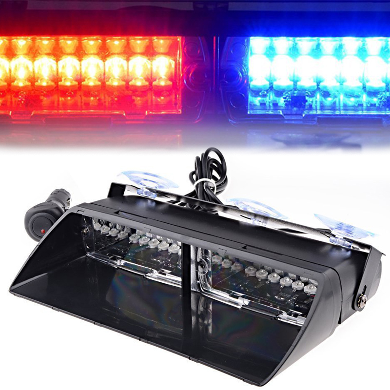 48W Windshield Led Strobe Light Car Flash Signal Fireman Police Beacon Warning Light Red Blue Led Emergency Vehicle Lights