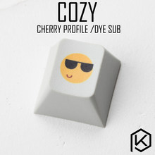 Novelty cherry profile pbt keycap for mechanical keyboards Dye Sub legends cozy smile funny black yellow(China)