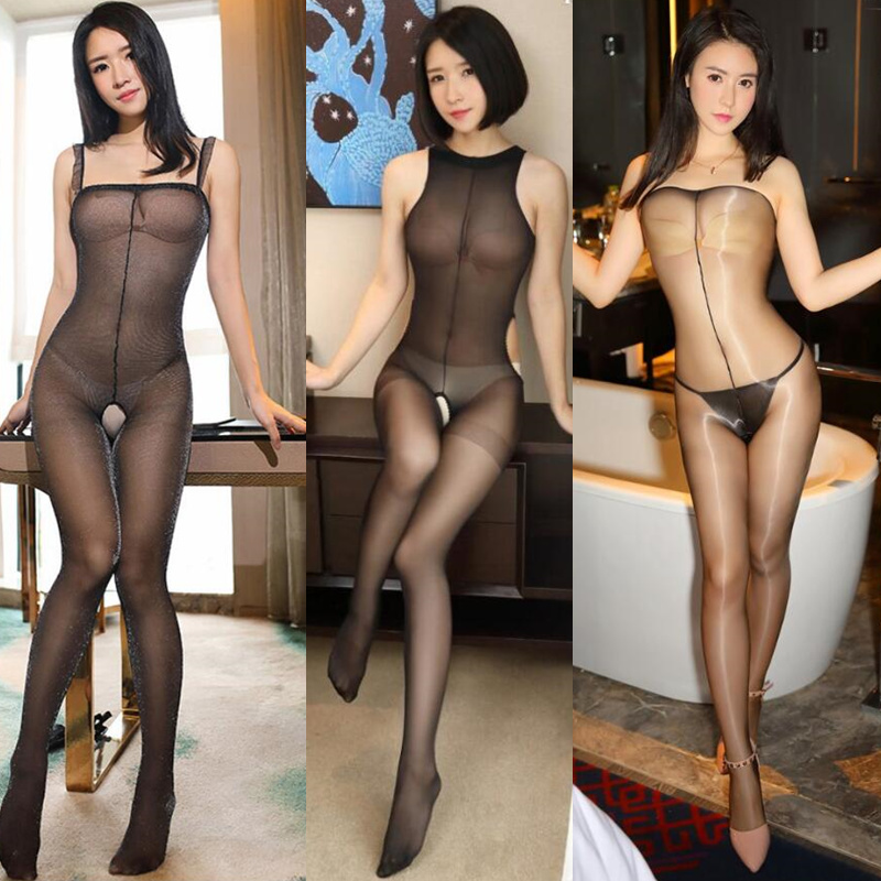Sexy Open Crotch Tights Body Stockings Transparent Bodysuit Erotic Underwear Women Sexy Teddy Lingerie Porno Costumes