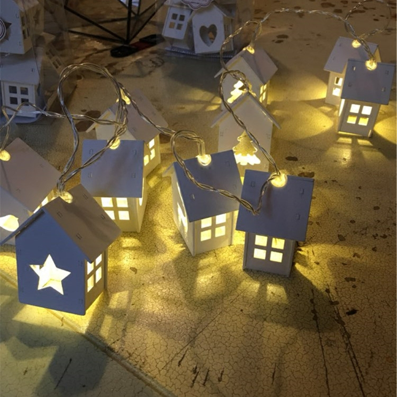 Love LED Light String 1.5m/3m Wooden House Shape Fairy Lights Interior Decoration Novelty Lights Garland Wedding Party Holiday