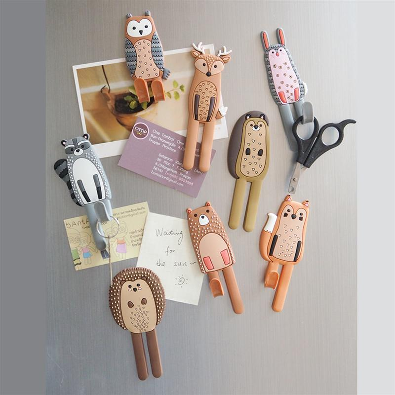 Cute Magnetic Hooks Removable Fridge Sticker Refrigerator Message Magnet Coat Hanger Key Holder Storage Hook (Hedgehog)