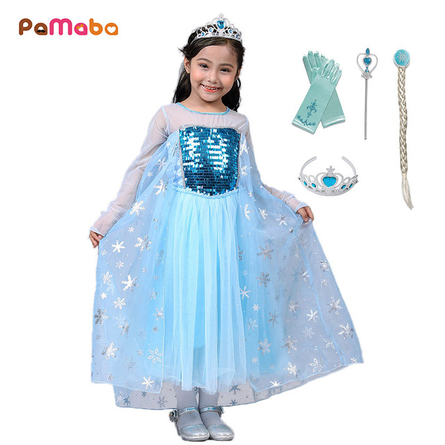 68da9cece4 US $7.06 15% OFF|PaMaBa Girl's Fantasy Elsa Costume Kids  Halloween/Birthday/Festival Outfit Kids Princess Sequined Elsa Dress up  Party Vestidos-in ...