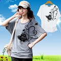 M-4XL!Summer Women's Plus Size Clothing Loose 100% Cotton Short-sleeve T-shirt Female Summer Batwing T-shirt Print