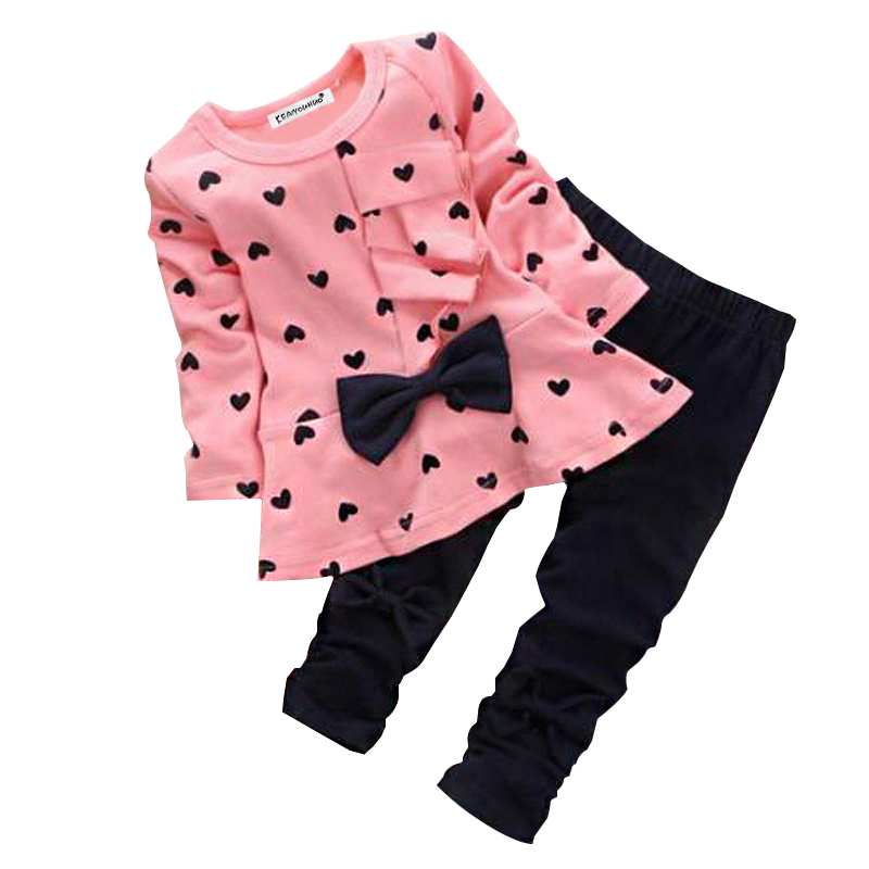 Kids Girls Clothes 2017 Spring/Autumn Baby Boys Girls Long Sleeve Cotton Set Children Clothing Sets Toddler cloth baby clothes sets toddler autumn girls fashion cotton long sleeve top holes jeans children cowboy set clothing suit winter new