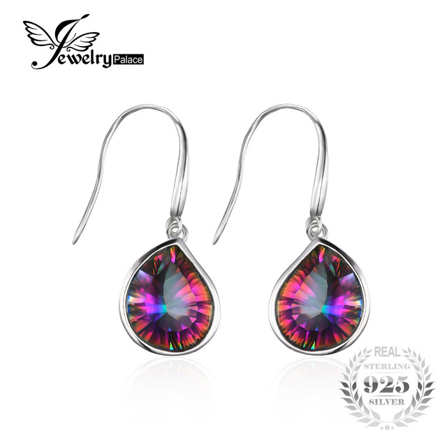 925 Sterling Silver 6ct Genuine Natural Rainbow Fire Mystic Topaz Dangle Earrings Set