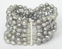 Wholesale price 16new ^^^^^^^8 6row 9mm baroque Gray pearls bracelet bangle magnet clasp j8830
