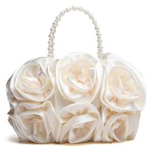 Image 2 - Женский атласный клатч Boutique De FGG, красный цветок Роза Буш, вечерняя бисерный кошелек с ручкой, свадебная сумка