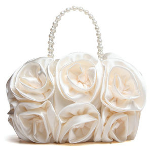 Image 2 - Boutique de fgg flor vermelha rosa bush mulher cetim noite bolsa frisada alça totes bolsa de casamento nupcial embreagem