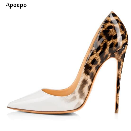 Apopeo Newest Leopard Printed High Heel Shoes 2018 Sexy Pointed Toe Patent Leather Woman Pumps Mixed Colors Stiletto Heels