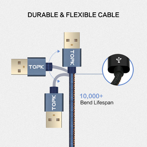 Image 3 - TOPK [5 Pack] Micro USB Cable Denim Braided Sync Data Mobile Phone USB Cable for XiaoMi redmi 4x mi 5 Samsung Huawei Sony LG
