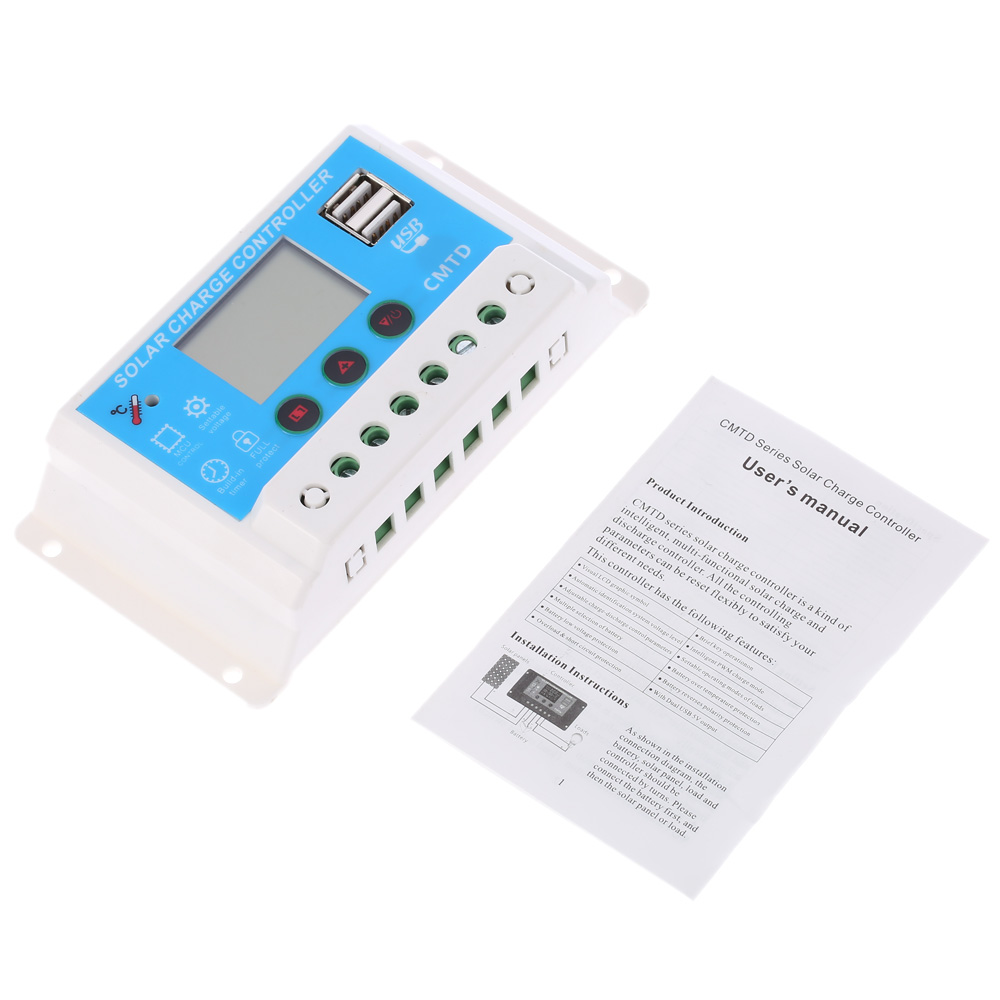 10a 20a 30a 12v 24v Lcd Solar Charge Controller With Auto Regulator Wiring Diagram Timer For Panel Battery Lamp Led Lighting In Controllers From Home
