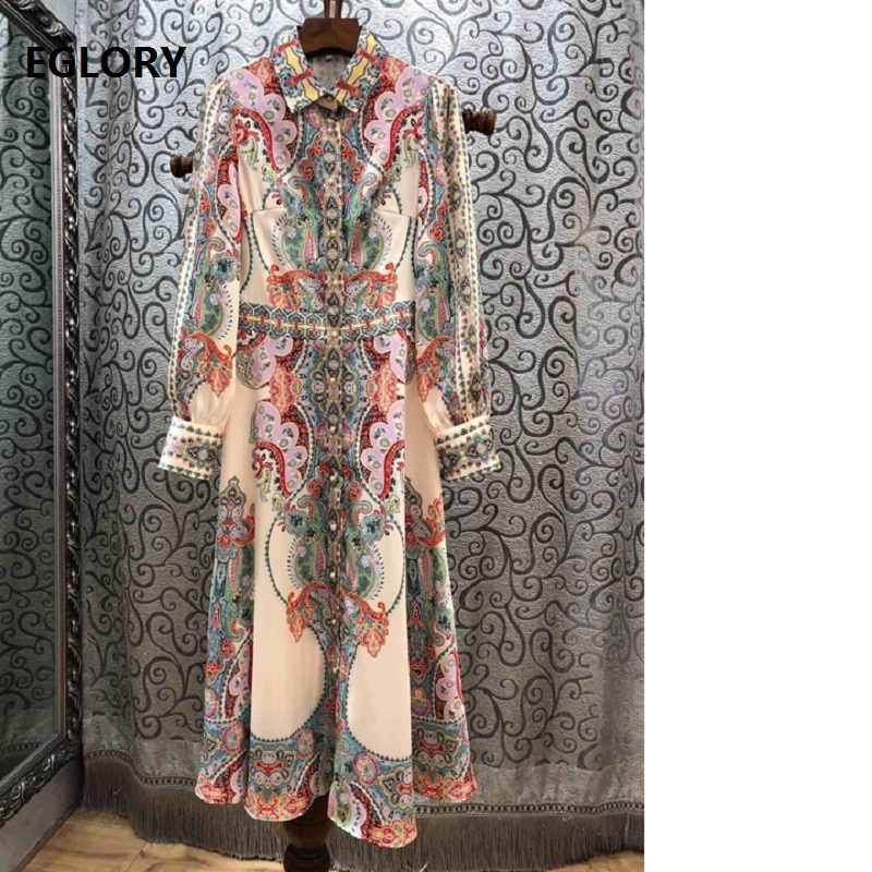 Top Quality New 2019 Spring Summer Style Dress Women Exquisite Print Full Sleeve Casual Party Boutique Dress Long Shirt Vestido
