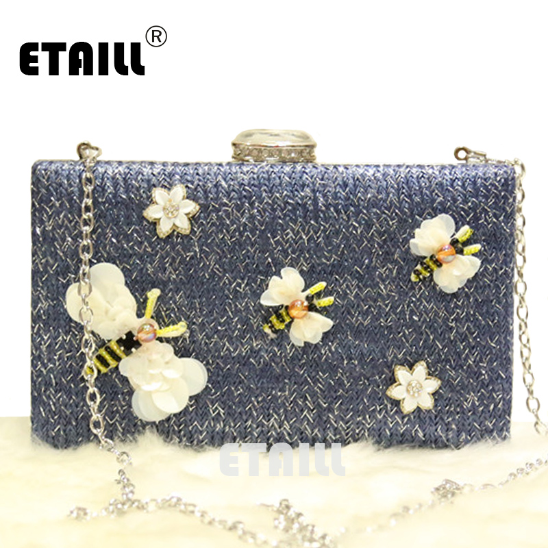 ETAILL Bee Appliques Flower Knitted Straw Summer Beach Bags Chain Strap Shoulder Bag Women Messenger Evening Clutch Bags Famous