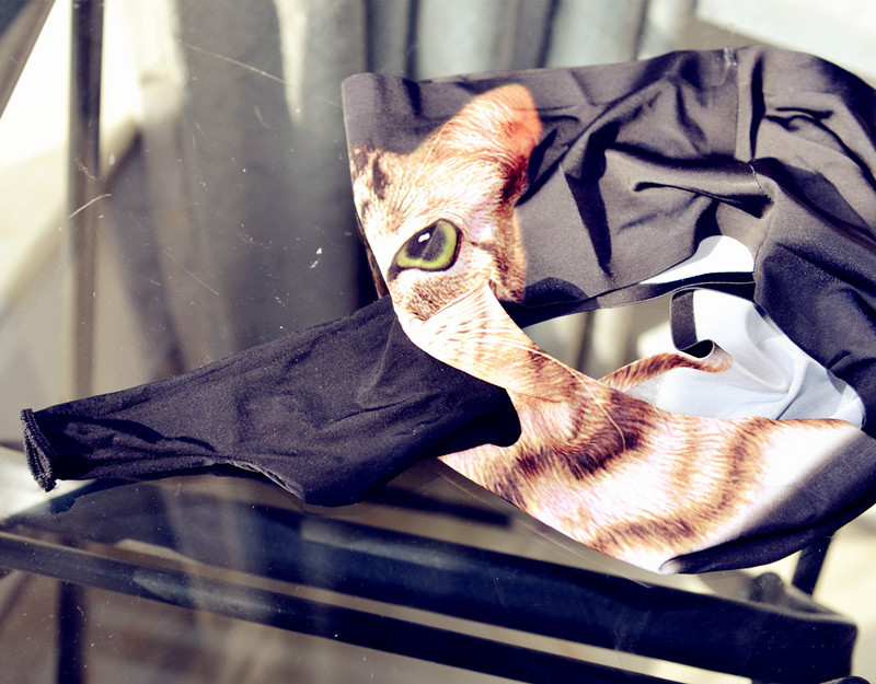 Мужские трусы с рукавом, мужское обтягивающее сексуальное нижнее белье с изображением кошки с животными, мужские сексуальные трусики, мужские эротические облегающие трусы с эффектом пуш-ап