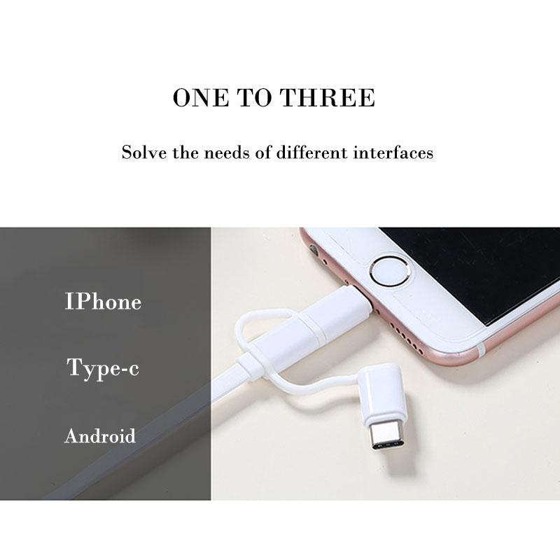 USB Cable For iPhone X 8 7 6 Plus Charging Line 3 in 1 Data Wire Type-c Micro usb For Samsung Android Mobile Phone Fast Speed