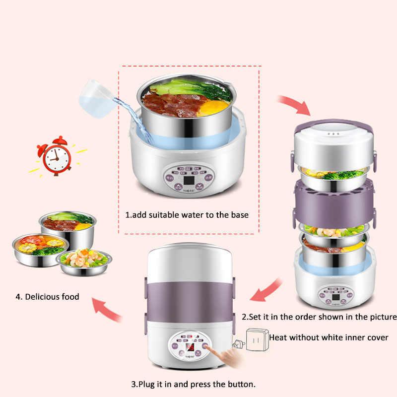 Kbxbegin المحمولة 2L صندوق غداء كهربي 3 طبقة الفولاذ المقاوم للصدأ بطانة الترمس الحاويات ل حاويات طعام جهاز طهي الأرز ساخنة