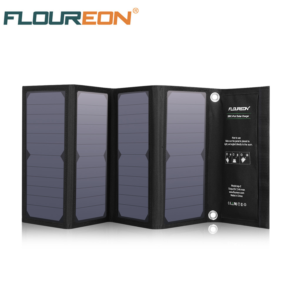 FLOUREON Solar Cell Charger 28W Solar Panel With Triple USB Ports Waterproof Foldable For Smartphones Tablets And Camping Travel
