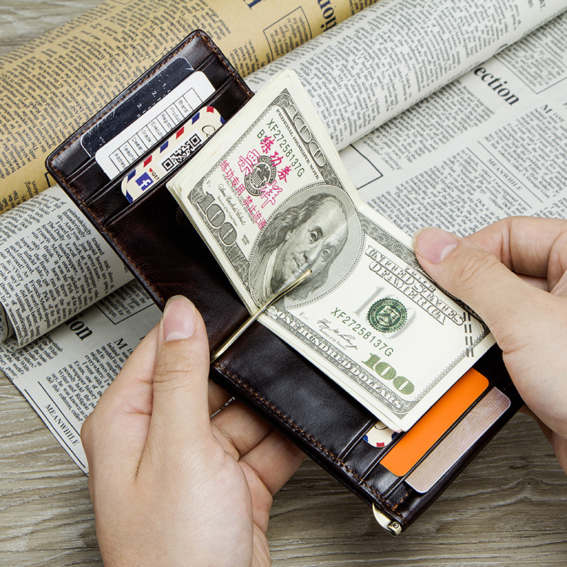 CONTACT'S Crazy Horse cowhide leather RFID money clip slim card wallet trifold male cash clamp man cash holder zip coin pocket 5
