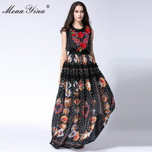 MoaaYina Designer Runway Maxi Dress Summer Women Sleeveless Dots Lace Print Applique Retro Casual Long High quality