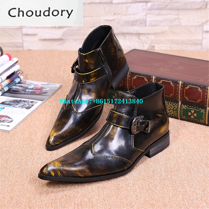 Choudory Leather Breathable Slip-On Mixed Colors Spring Autumn Brogue Shoes Men Pointed Toe High Heels High Top Men Shoes Casual