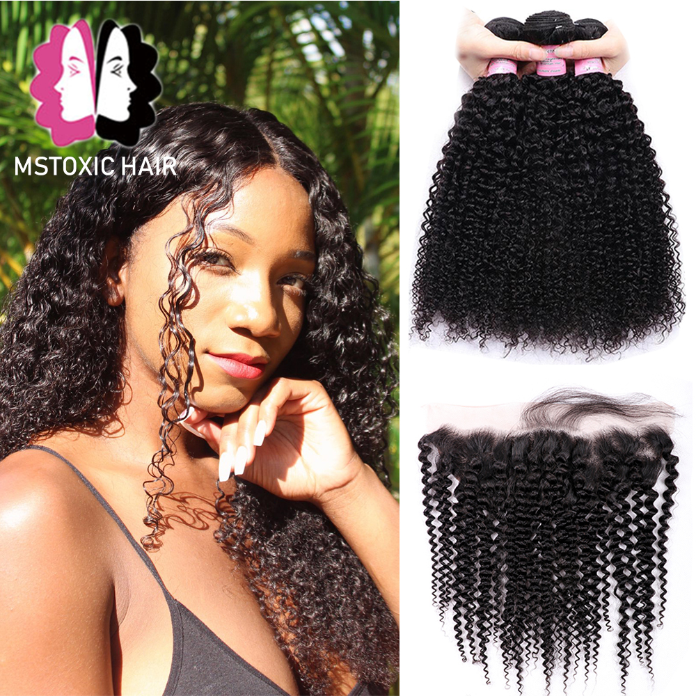 Mstoxic Brazilian Kinky Curly Bundles With Frontal Closure 13x4 Lace Frontal With Bundles Remy Human Hair