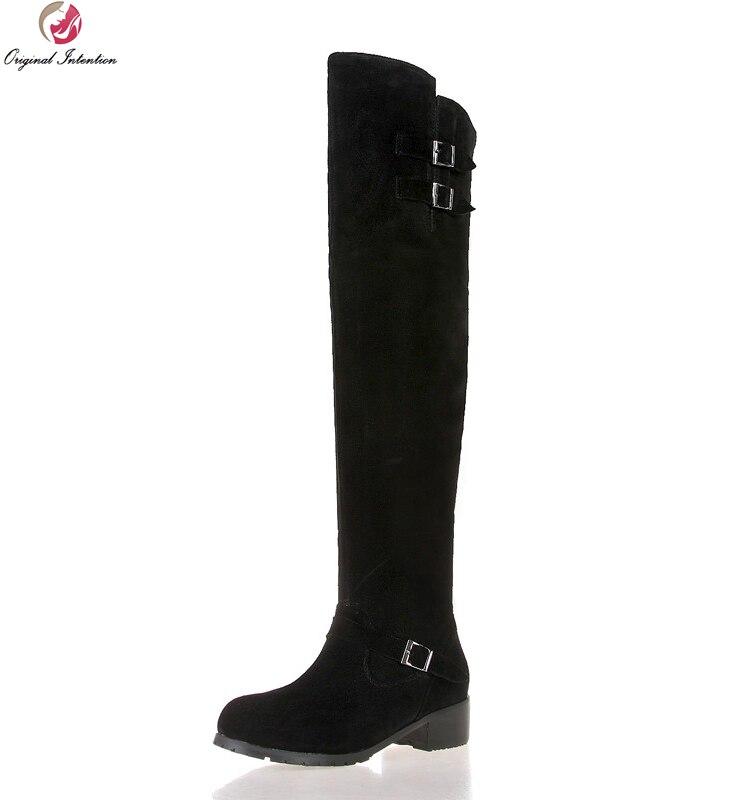 Original Intention New Cool Women Knee-High Boots Round Toe Square Heel Winter Boots Elegant Black Shoes Woman US Size 3.5-13 equte rssc4c99s5 fashionable elegant titanium steel women s ring black us size 5