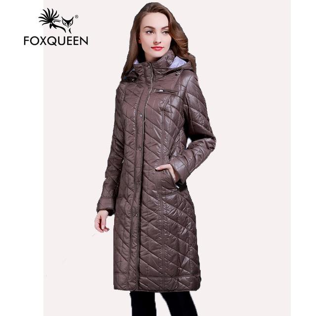 Foxqueen 2017 Spring Autumn New Women Long Cotton Down Jacket Coat Parka Overcoat Big Size 5XL 6XL High Quality Free Ship 0513