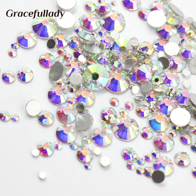 1000pcs Mix Størrelser 3D Nail Rhinestones Shiny Clear AB Ikke HotFix Stones Flatback For Nail Art Decoration Gems