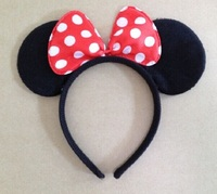Mickey Minnie Mouse Ears Children Hair Accessories Baby Girls Headwear Red Pink Bow Headband Hair Band