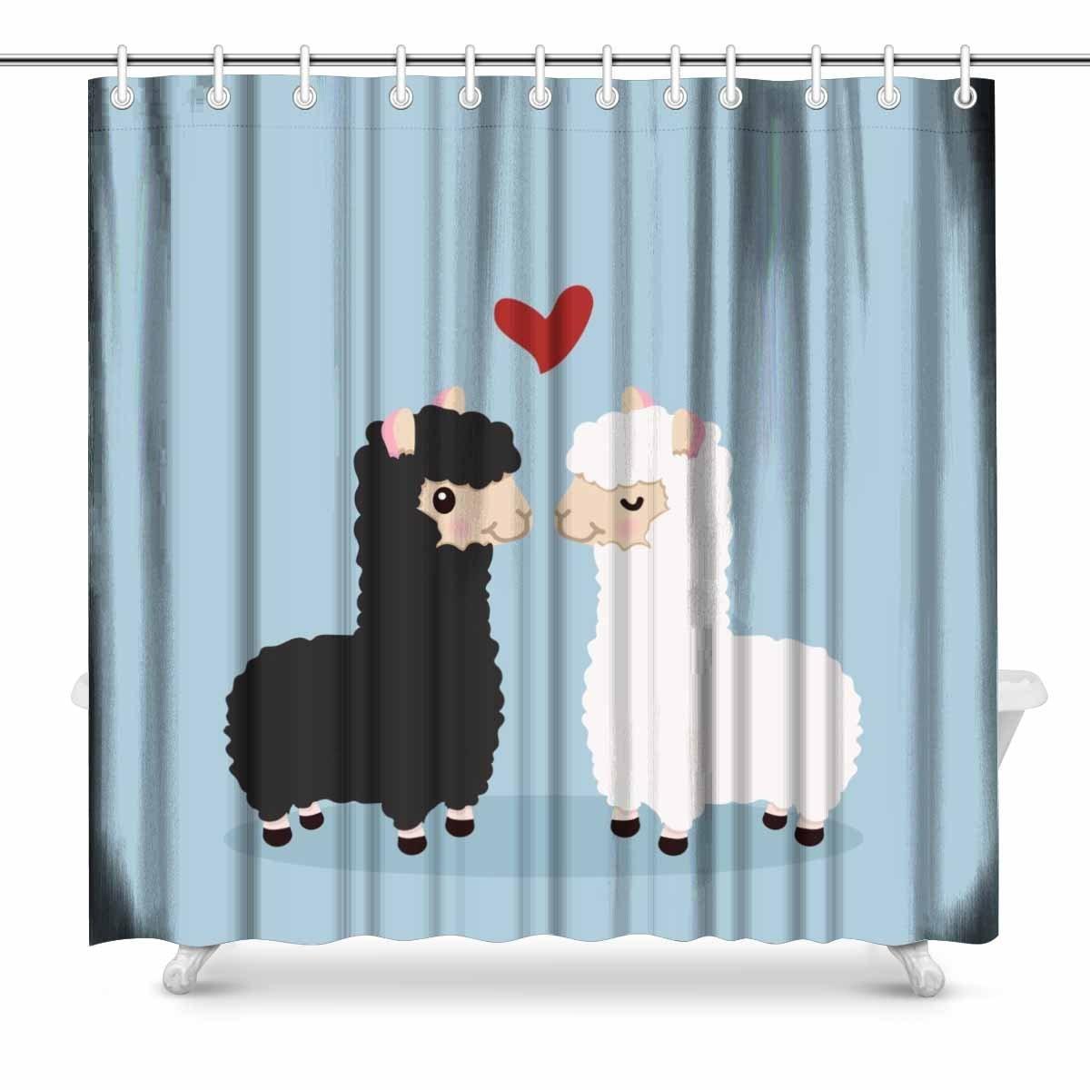 Aplysia Alpaca Couple in Love Fabric Bathroom Shower Curtain Decor ...
