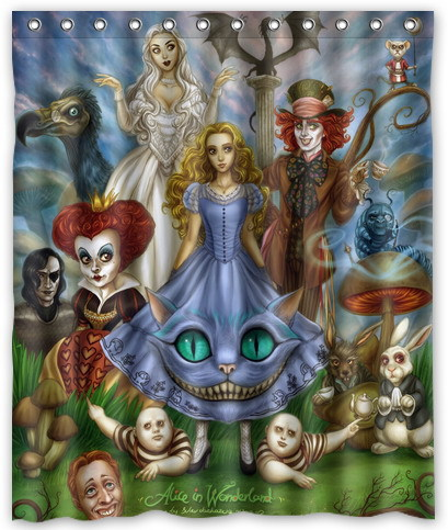 Curtains Ideas alice in wonderland curtains : Aliexpress.com : Buy 3D Film Alice in Wonderland shower curtain ...