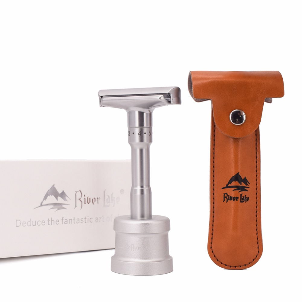 Adjustable Safety Razor Mens Shaving Double Edge Classic Safety Razor Blade Exposure Six Levels 1 Handle & 10 Blades