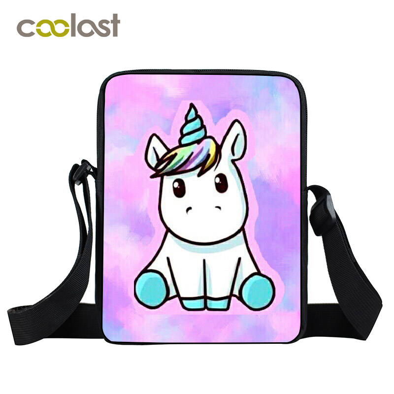 Little Unicorn Mini Messenger Bag For Kids Funny Ponny Child Crossbody Bags Women Small Hand Bag Mini Tote For Boys Girls anime attack on titan mini messenger bag boys ataque on titan school bags mikasa ackerman eren shoulder bags kids crossbody bag